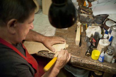 Walter Pawlikowski constructs a violin.   William Camargo/Staff Photographer