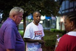 Forest Park Juneteenth founder Rory Hoskins talks to guests. | MAX HERMAN/Contributor
