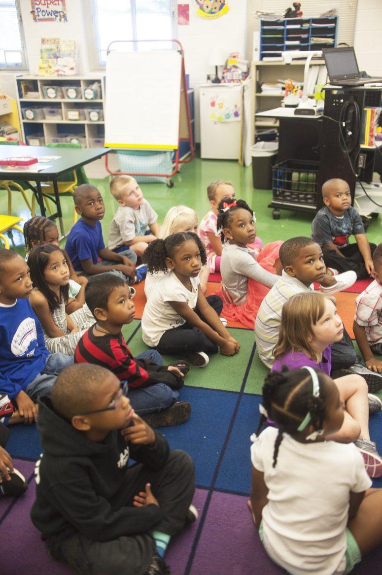 A kindergarten class on the first day at Garfield School. | William Camargo/Staff Photographer
