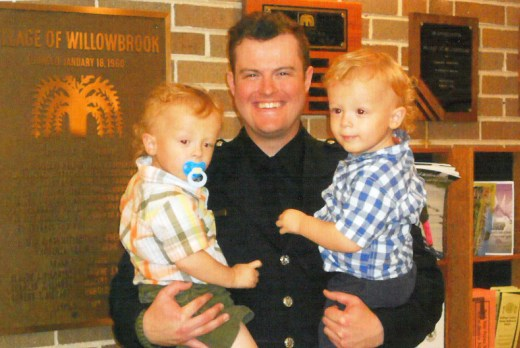 Willowbrook Police Officer Dylan Trainor with his sons, Tyler and Bryce. | Courtesy Ken Trainor