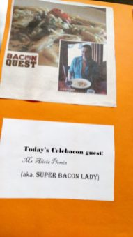 """Today's Celebacon Guest: Ms. Alicia Plomin (AKA Super Bacon Lady)!"