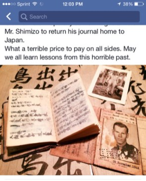 This photo from Facebook shows the diary and photos of Wendy Sheridan's father, James Wink. | Courtesy Wendy Sheridan