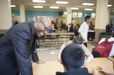 Proviso East's new principal, Patrick Hardy, likes to get out of the office and interact with students. | William Camargo/Staff Photographer