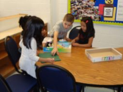 Students playing board games.