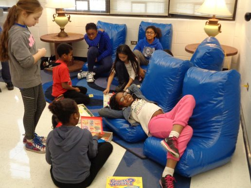 Students relaxing in our bean bag chairs.