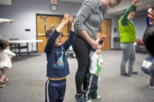 Samson Reyes follows along during dance lessons for toddlers at the Forest Park Public Library on Friday, April 29.   William Camargo/Staff Photographer