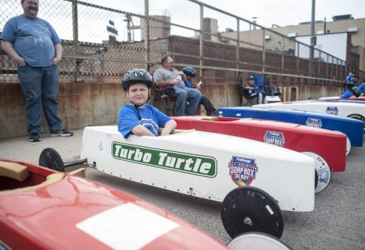Kevin Winnicki readies for his ride down the Circle Avenue overpass during the All-American Local Soap Box Derby Race sponsored by the Forest Park Kiwanis Club and the village on June 4. | William Camargo/Staff Photographer