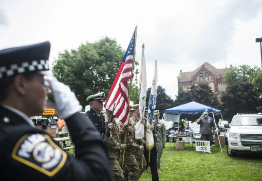 The color guard marches to the stage during Vet Fest in The Grove on Saturday. | William Camargo/Staff Photographer