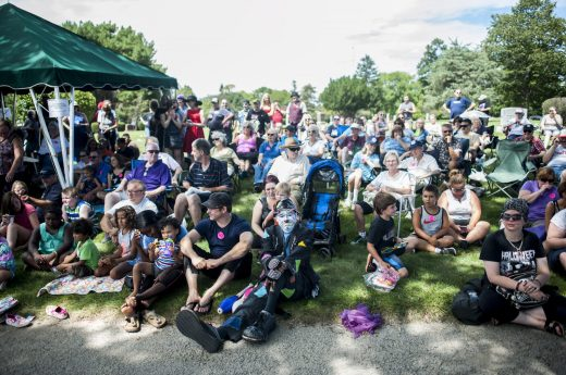 People from surrounding towns and cities gathered at Woodlawn Cemetery to celebrate International Clown Week in Forest Park. | William Camargo/Staff Photographer