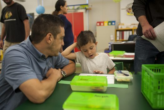Charlie Doerr and his father Henry spend some time together before the beginning of his first day of kindergarten. | William Camargo/Staff Photographer