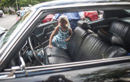 Laney Juel climbs into her father's SS. | William Camargo/Staff Photographer