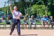 Mayor Calderone threw the first pitch.   Photo provided by Kevin Crisham