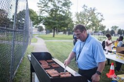 Steve Thomas of the Park District of Forest Park cooks hot dogs for attendees. | William Camargo/Staff Photographer
