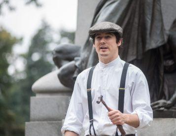 Tyler Watkins played Jack the bill poster at the Haymarket Memorial. | William Camargo/Staff Photographer