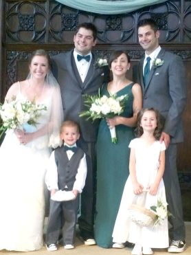 Charlie and Velma Marinier's grandchildren and great-grandchildren. (Left to right) Emily (bride) and Gary Almeroth (groom). Jason Almeroth, his wife Theresa and their children Eliza and Andrew. | Photo by Lillian Marinier Almeroth