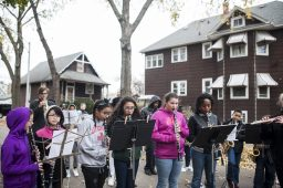 Forest Park Middle School students play the national anthem during the Veterans Day celebration at Thomas and Adams on Nov. 11. | William Camargo/Staff Photographer
