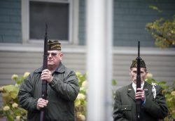 Two Forest Park veterans at attention. | William Camargo/Staff Photographer