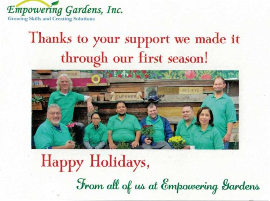 Happy Holidays from all of us at Empowering Gardens! | Photo provided