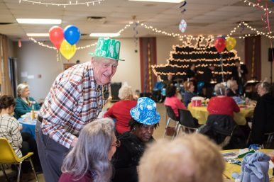 Don Haugen of Maywood socializes at the senior New Year's Eve party at the Howard Mohr Community Center on Dec.31. | MAX HERMAN/Contributor