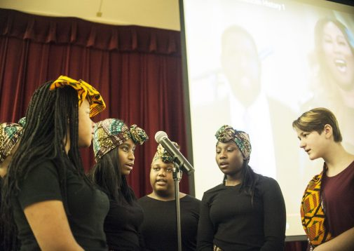 "Students from Forest Park Middle School sing the song ""Glory"" during an assembly for Black History Month on Thursday Feb. 17. 