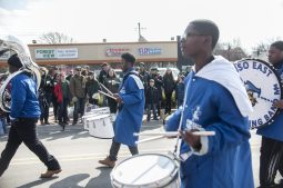 The Proviso East High School Marching Band entertains on Madison Street.   William Camargo/Staff Photographer