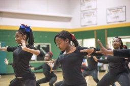 Middle School dancers perform during halftime. | William Camargo/Staff Photographer