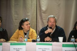 Forest Park Mayor Anthony Calderone participates in a panel discussion during the Live Town Hall: Welcoming Diversity at Eagles Hall on May 1. | Max Herman/Contributor