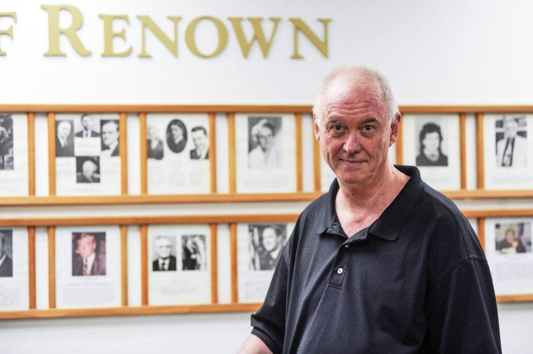 Historical Society President Jerry Lordan in front of the Wall of Renown at village hall in Forest Park. | William Camargo/Staff Photographer