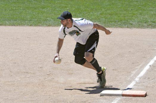 Snappers first baseman Adam Vogltanz tags the base for an out. | Alexa Rogals/Staff Photographer