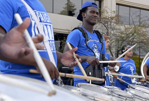 Proviso East senior Devontae Prince, 17, of Melrose Park, plays the drums in the band. | Alexa Rogals/Staff Photographer