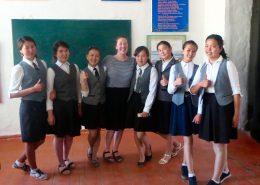 Leah Cozzi with 10th grade students: left to right, Jazgul, Aisulu, Begemai, Bermet, Madina, Nagima, and Ailita. | Courtesy Leah Cozzi
