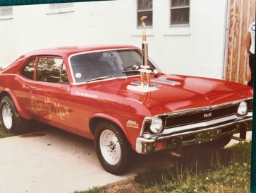 The 1972 Chevy Nova SS was sponsored as a racecar by the Ferrara Pan Candy Company after Larry Edwards sold it to a Forest Park police officer.   Photos courtesy Chris Edwards