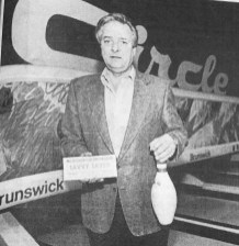 Zyg Stutz, owner of Circle Lanes, touted the Review's Savvy Saver coupon books. | Photo courtesy Forest Park Historical Society