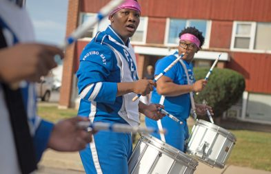 The drum line from the Proviso East High School marching band perform. | Alexa Rogals/Staff Photographer