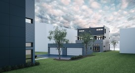 Rendering of townhomes to be built at 233 Des Plaines Avenue. | Courtesy233desplaines.com
