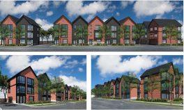 Renderings of townhomes to be built from 7791 to 7795 Van Buren St. | Courtesy Steve Glinke