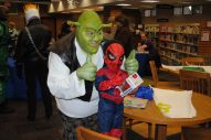 Shrek and Spiderman celebrate comic books together. | Courtesy of the Forest Park Public Library