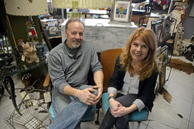 Owners Brian Shamhart and Melody Kratz in their current store on Garfield Street in Oak Park. They will begin moving inventory into their new building on Madison Street in Forest Park on Feb. 2 and plan to open a few weeks after. | Alexa Rogals/Staff Photographer