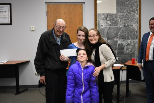 Hannah Erwin, Grant-White 5th grader (center) with family.   Photo by Rebecca Latham