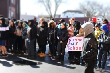 Students line up outside FPMS as part of a national movement against gun violence. | Courtesy of Forest Park School District 91
