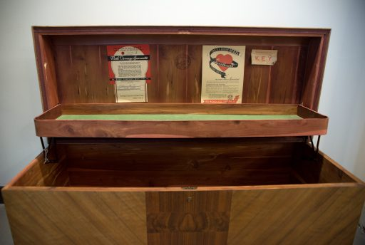 A chest found at a yard sale sits in the waiting area. | Alexa Rogals/Staff Photographer