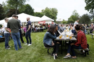 Attendees of Forest Park's German Fest ate authentic German food, listened to authenic German music and drank German beer.   Sarah Minor/Contributor