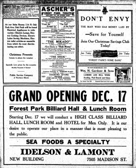 1921 Ad in Forest Park Review for Idelson & Lamont Restaurant on Madison.
