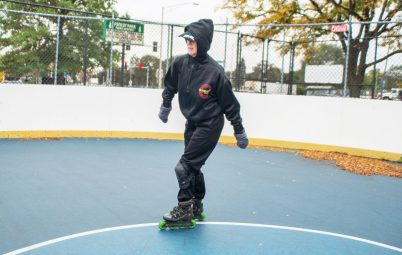 Forest Park resident Carolyn Bednar, 66, works out by skating around the rink on in the skate rink at the Park District of Forest Park on Harrison Street. | Alexa Rogals/Staff Photographer