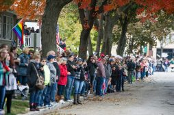 Attendees line up on the curb on during the 6th annual Casket Races. | Alexa Rogals/Staff Photographer