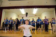 The Proviso East Marching Band performs for students on Monday, May 7, 2018, at Field-Stevenson School in Forest Park. | Alexa Rogals/Staff Photographer