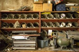Old organizers with parts and tools inside Thiesse Plumbing. | Alexa Rogals/Staff Photographer