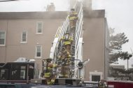Berwyn firefighters assist with an apartment building fire on Thursday, Jan. 10, 2019, on Hannah Avenue at the corner of Roosevelt Road in Forest Park, Ill. | ALEXA ROGALS/Staff Photographer