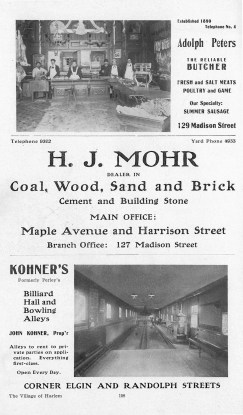 Mohr & Sons advertisement from the anniversary of the Village of Harlem, 1908.