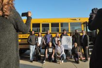 Proviso students and Supt. Jesse Rodriguez before boarding a bus bound for Milwaukee to thank pre-k students for their support. | Sebastian Hidalgo/Contributor